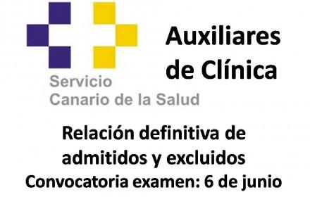 Relación definitiva admitidos y excluidos de Aux clinica canarias