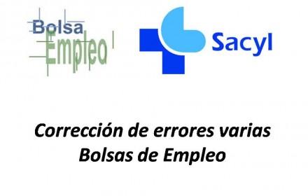 Corrección de errores varias Bolsas de Empleo sacyl