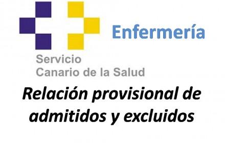 Relación provisional admitidos y exc enfermería canarias
