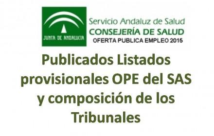 Publicados Listados provisionales OPE del SAS y composición