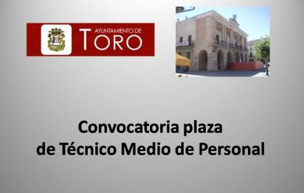 Convocatoria plaza tecnico toro 2015