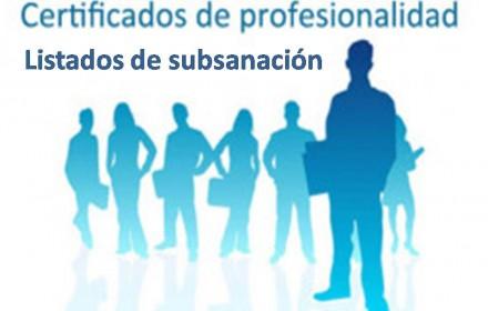 Listados subsanacion acreditacion profesional