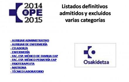 ope osakidetza 2014-2105 Listados definitivos