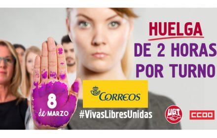 UGT comunicado a Correos turnos huelga 8M
