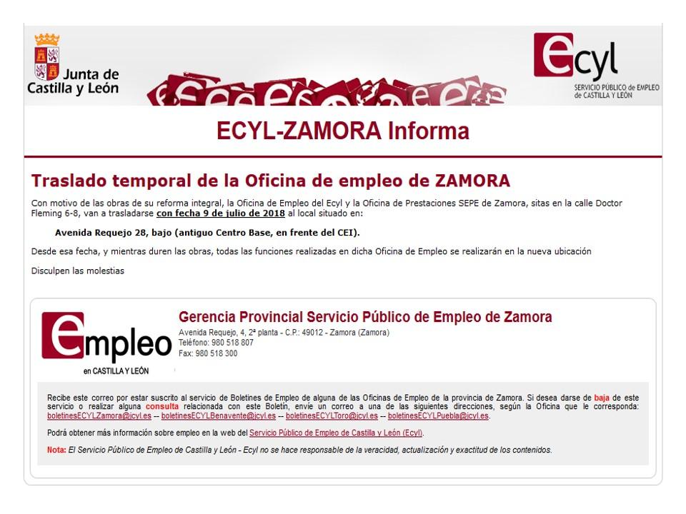 Fesp ugt zamora traslado temporal de la oficina de empleo de zamora - Oficinas de trabajo temporal ...