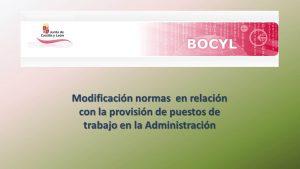 Modificación normas provisión puestos trabajo