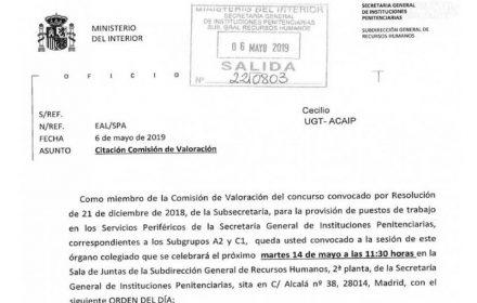 Comisión valoración traslados niveles 15-22
