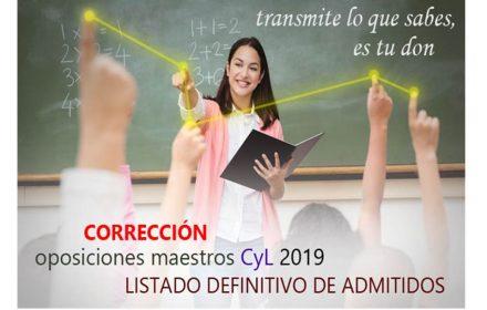 Oposiciones Maestros 2019 Corrección admitidos