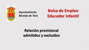 Ayto Boveda toro educador infantil prov