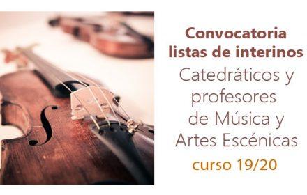 Convocatoria interinos catedráticos prof música 19-20