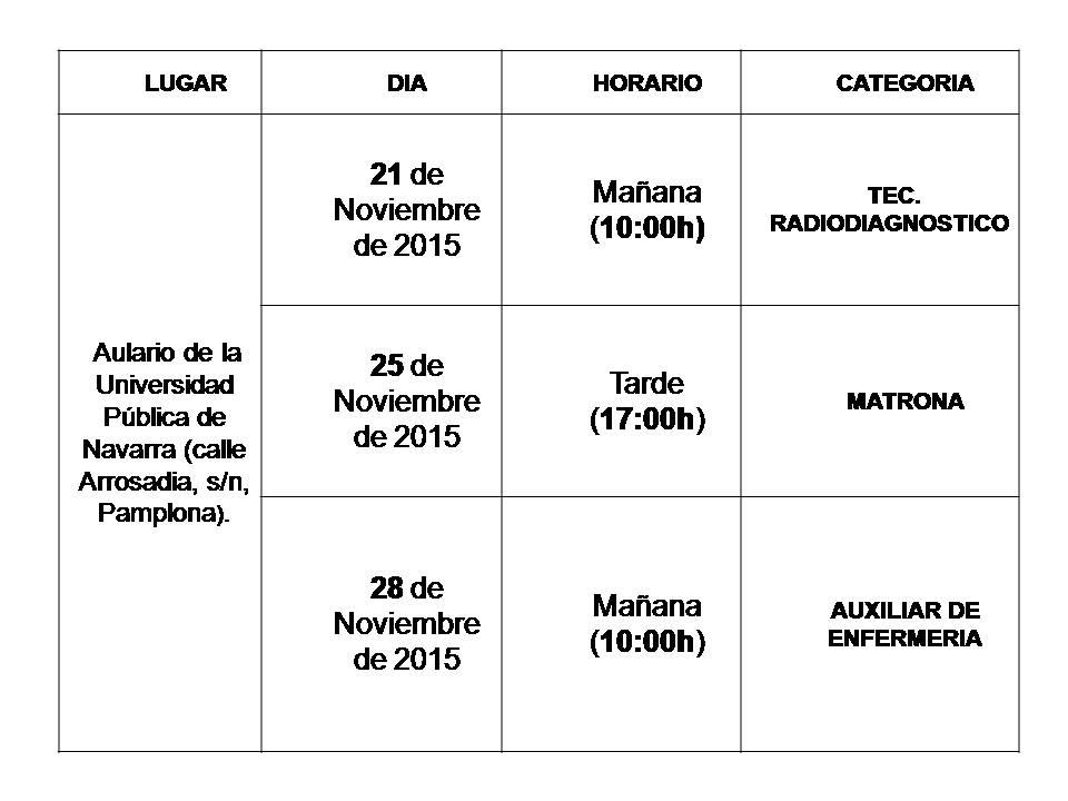 fechas lugar y hora ope navarra nov 2015