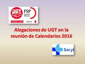 Alegaciones de UGT en la reunión de Calendarios