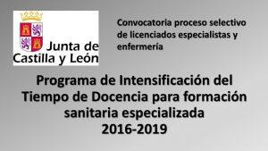 Proceso selectivo Programa Intensificación Tiempo Docencia 2016-2019