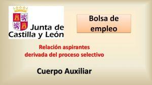 aspirantes Bolsa Cuerpo Auxiliar derivada proceso selectivo
