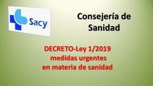 DECRETO-Ley 1-2019 medidas urgentes sanidad