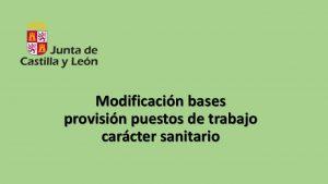 Modificación bases provisión puestos trabajo sanitario
